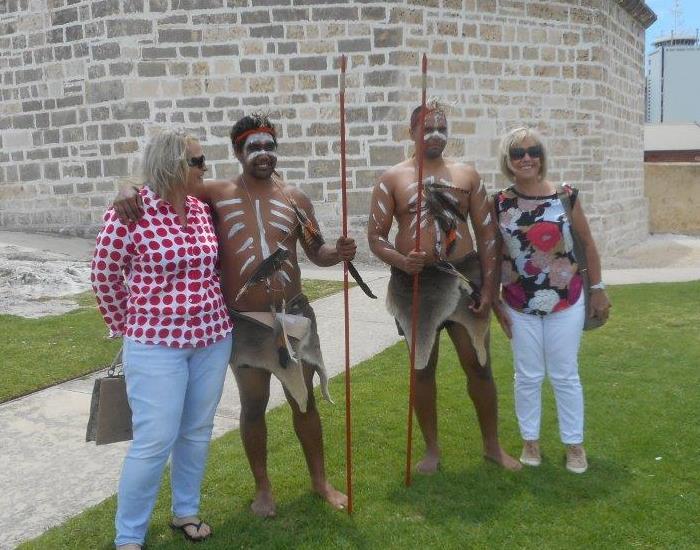 Nyoongar men meet tourists