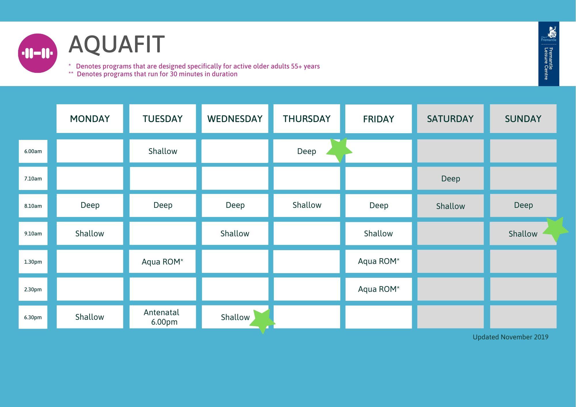 Aqua timetable