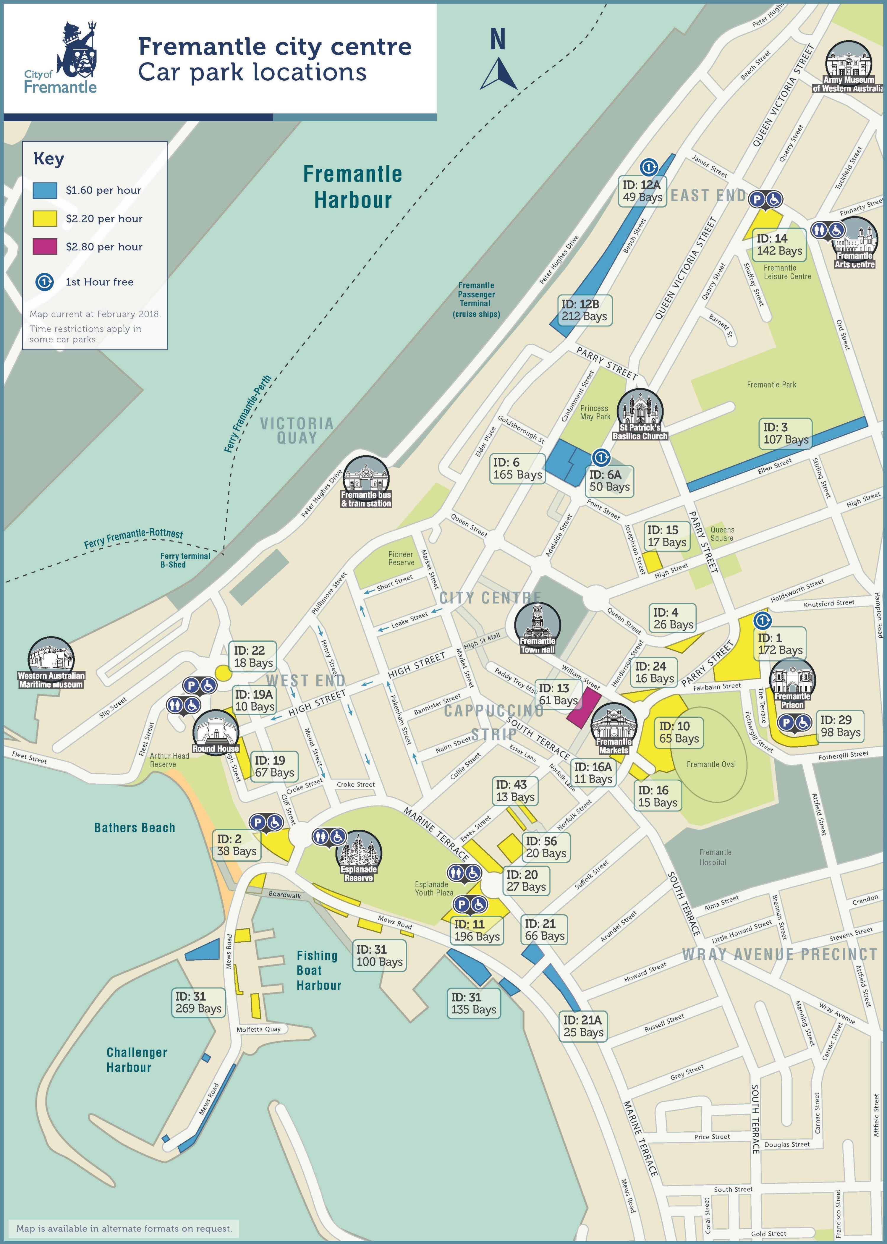 City centre parking map