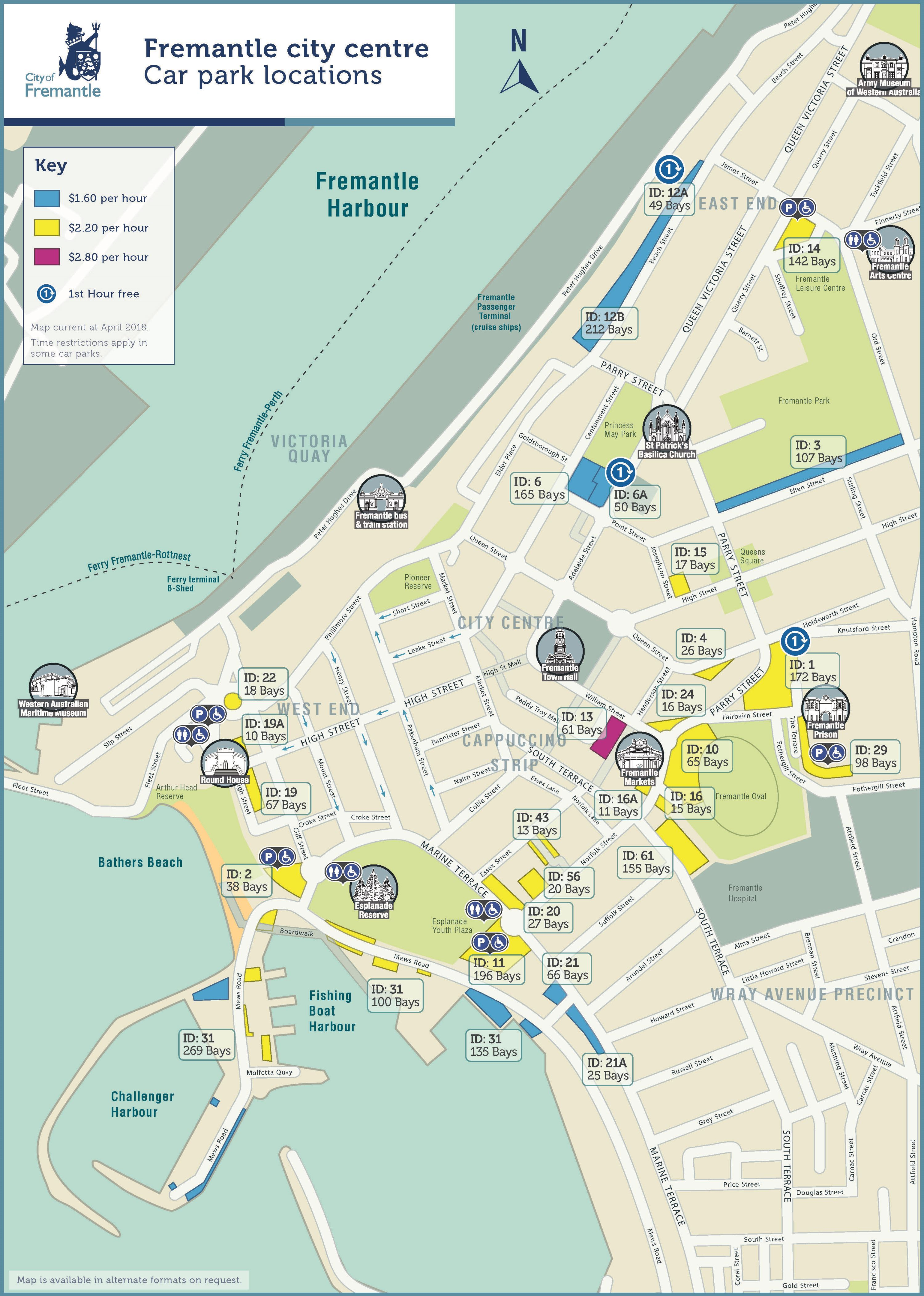 City centre parking map