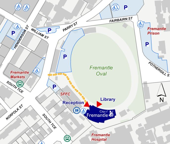 Fremane Oval aeirial mudmap showing temporary City of Fremantle location