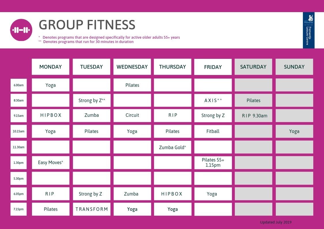group fitness timetable