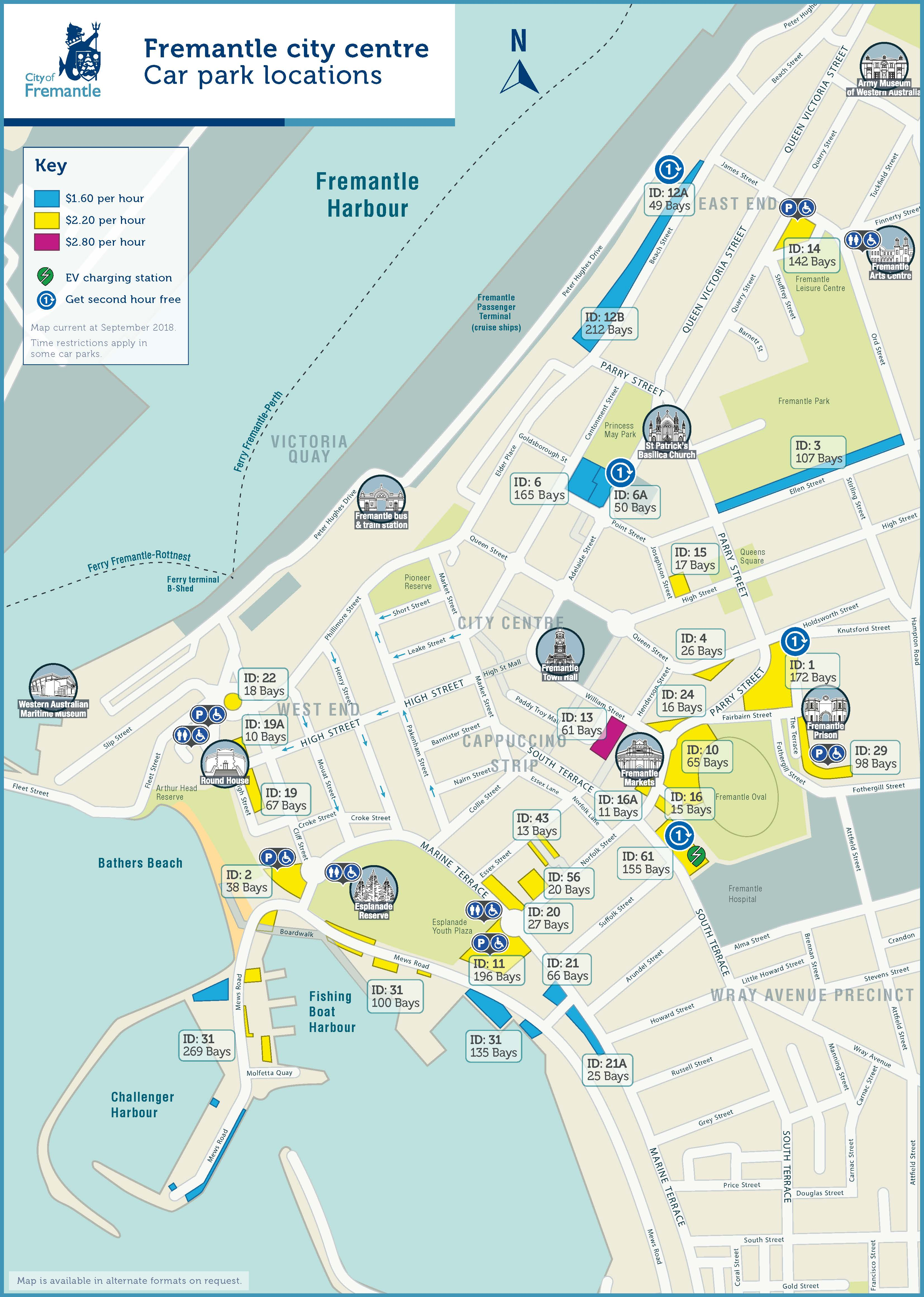 A parking map showing the car spots around Freo.