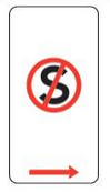 A parking sign showing a letter S with a red line through it.