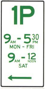 A parking sign showing how how many hours you can park.