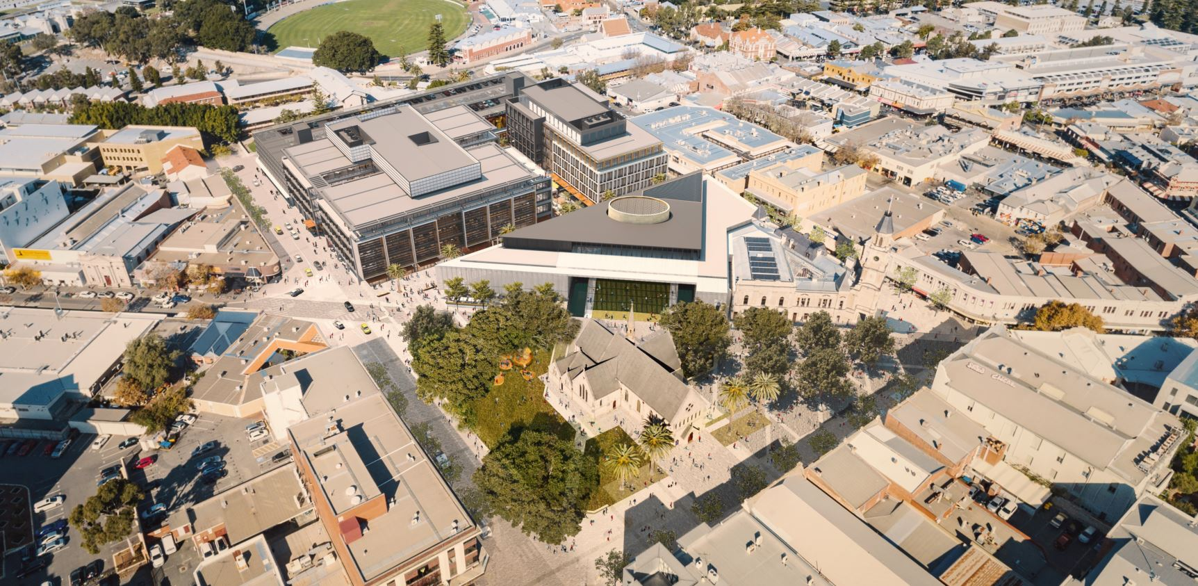 Ariel view of the future Kings Square development
