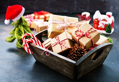Presents in a square bowl.