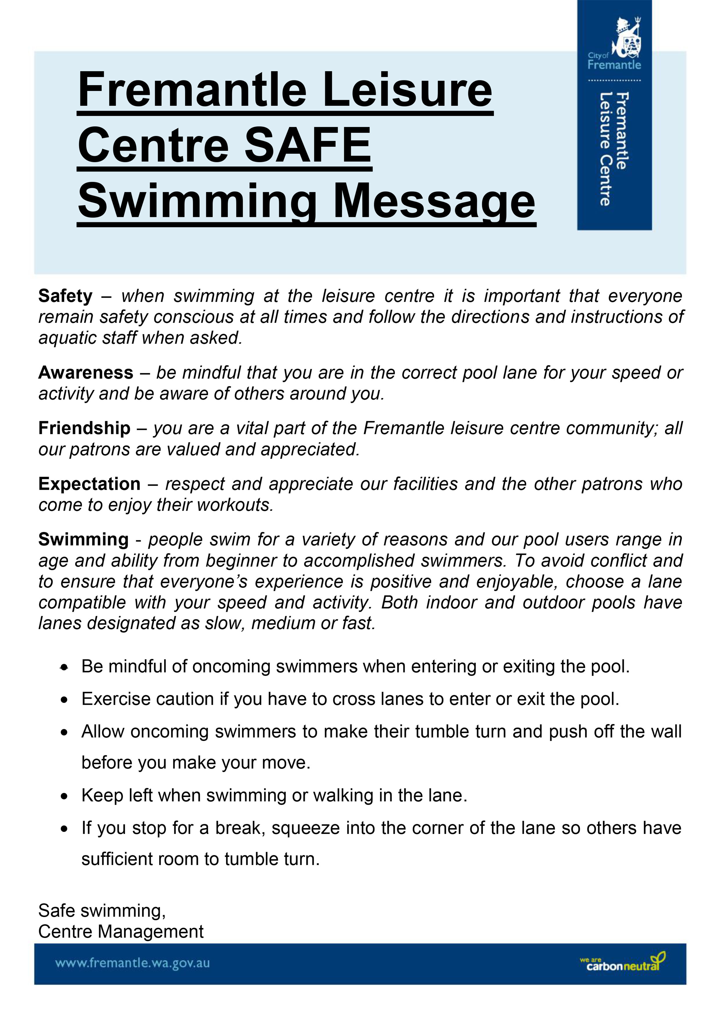 swimming safe poster