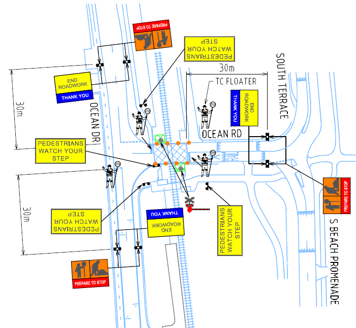 Site works map showing where all the traffic management parts will take place.