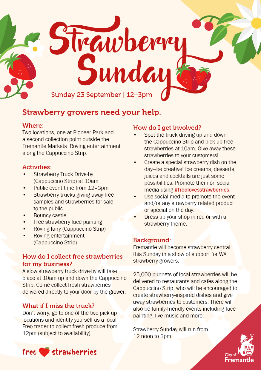 Flyer outlining information for traders wishing to participate in Strawberry Sunday