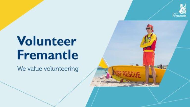 Volunteer Fremantle, we value volunteering showing an image of a surf lifesaver on the beach
