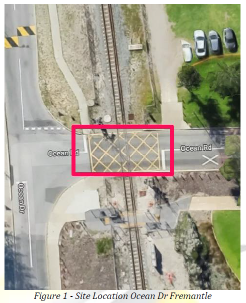 A map of the site area with a red line around the crossing section