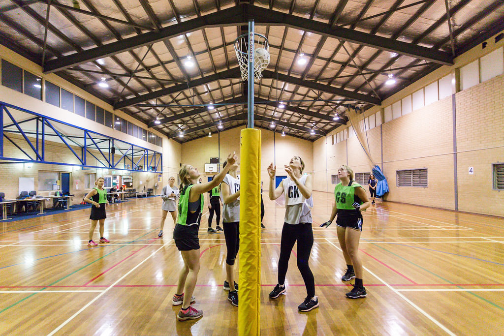 group playing netball