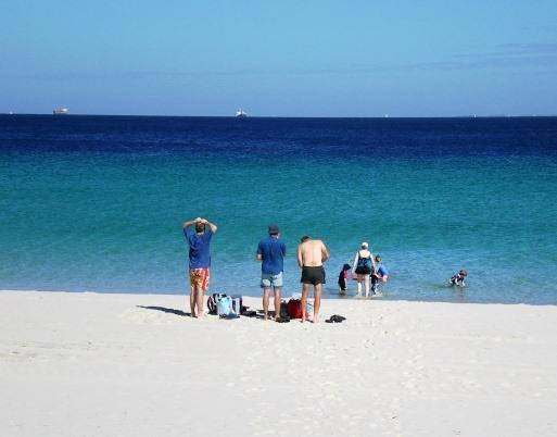 Visitors enjoying Leighton Beach