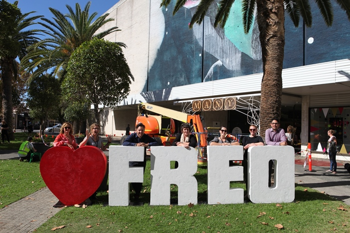 Love Freo sign in Kings Square