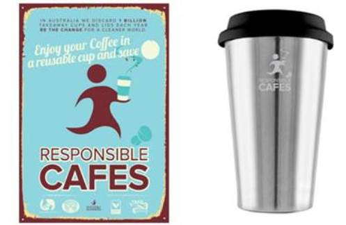 Responsible cafes flyer and cup