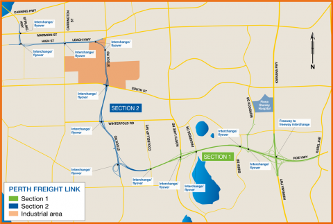 Proposed Perth Freight Link route