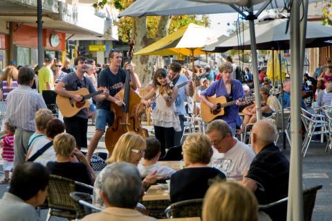 Buskers performing in Fremantle