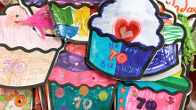 Paper cupcakes decorated by children